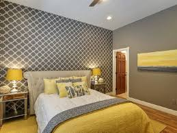 Grey Accent Wall by Excellent Grey Striped Wallpaper With Yellow Comforter For Chic