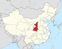 china on a map shaanxi