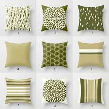 Designer Pillows Olive Green Pillow Covers Dark Green Cream Throw Pillows