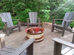 Firepit Sale Rustic Patio With Adirondack Chair By Sublime Garden Design