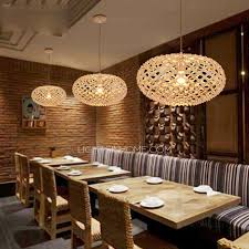 Japanese Ceiling Light Texture Oval Shaped Wooden Japanese Pendant Lights For Restaurant