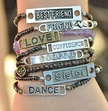 metal bead bracelet images Gemstone bead stretch bracelet with name plate adornment jpeg