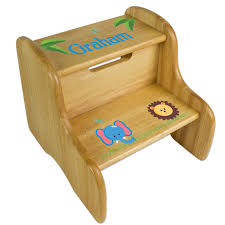 Childrens Wooden Kitchen Furniture Furniture Cozy Oak Wooden Step Stool With Blue Carpet For Cozy