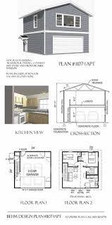 2 story 2 car apartment garage plan 1107 1apt 24 u0027 x 24 u0027 by behm