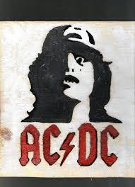ac dc wooden wall art rock n roll logo music home décor