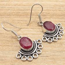silver gift items silver plated rubi ethnic earrings indian handmade christmas