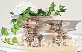 Wohnzimmertisch Dekoration Keramik Dekoschale Schale Silber Tisch Deko Keramikschale