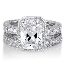 emerald cut wedding set vintage emerald cut cz wedding ring set 2 5 carats
