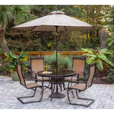Patio Dining Set With Umbrella Monaco 5 Outdoor Dining Set With C Chairs Glass Top
