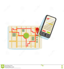 Running Map Route by Smartphon And App To Plan The Running Route On The City Map Vector