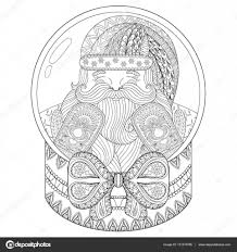 vector zentangle christmas snow globe with santa claus hand drawn