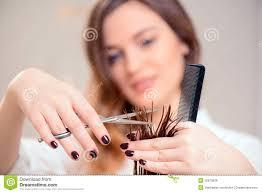 hairdresser doing hairstyle brunette short hair salon stock photos