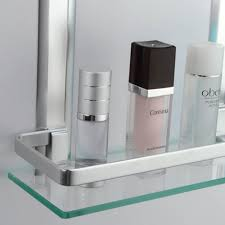 bathroom 2 tier glass shelf with rail aluminum and extra thick