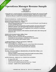 Sample Of Objectives In A Resume by Operations Manager Cover Letter Sample Resume Genius