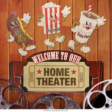 Home Movie Theater Wall Decor Dancing Snacks Home Theater Marquee Sign Set Movie Room Steel