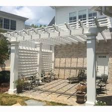 Backyard Brick Patio Design With 12 X 12 Pergola Grill Station by 8 U0027 Privacy Screen For 12 U0027 X 12 U0027 Pergola Use With Model U0027s