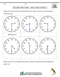 first grade math activities telling the time half past 1 telling