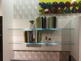 Glass Shelf Bookcase With Led Glass Shelf Lights Led Wall Mounted Bar Shelf