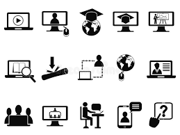 on line class online class icons set stock vector illustration of graduation
