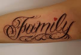 custom lettering family inner forearm chronic ink