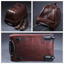 travel luggage bags images Vintage full grain leather travel bag trolley bag duffle bag jpg