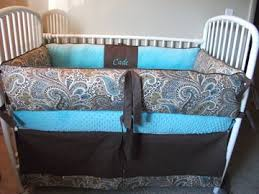 custom blue brown boy paisley baby bedding bumper pad and