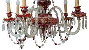 Bohemian Glass Chandelier Antiques Art Vintage