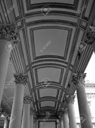 neoclassical architecture porch cathedral in novara italy stock