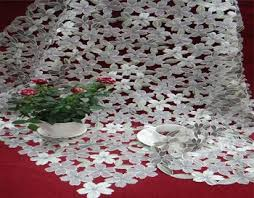 Polyester Flowers - fabric painting designs on table cloth 100 polyester flower table