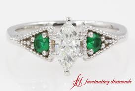 gold emerald engagement rings 3 pave milgrain marquise with emerald engagement