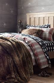 lodge plaid flannel bedding with luxe faux fur for happy
