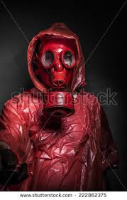 Halloween Costume Gas Mask Ebola Infection Concept Man Red Gas Stock Photo 231705694