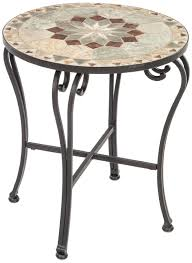Outdoor Metal Side Table Amazon Com Alfresco Home Notre Dame Indoor Outdoor Marble Mosaic