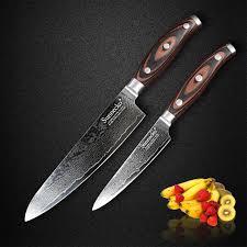 vg10 kitchen knives sunnecko 2pcs kitchen knives set damascus vg10 steel sharp