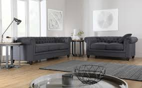 Hampton Fabric Chesterfield Sofa Suite  Seater Slate Grey - Chesterfield sofa and chairs