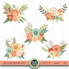Wedding Flowers Drawing Mason Jar Clipart