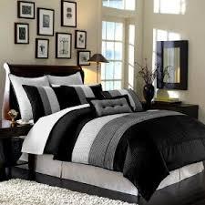 8 pc luxury super set black white grey faux silk comforter