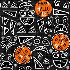 funny scary faces messy monochrome autumn holiday seamless pattern