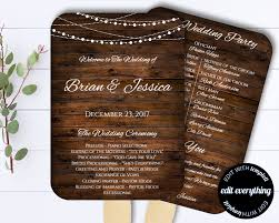 diy wedding program fan template country wedding program fan template rustic wedding program