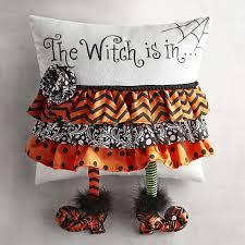 witch halloween throw pillow stocking legged pointy toed design 14