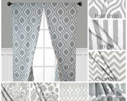 Grey And White Curtain Panels Gray Curtains Etsy