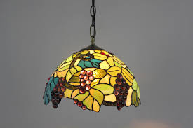 tiffany stained glass pendant lights with leaves and grapes