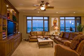 contemporary western interior family media room penthouse