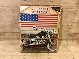 god bless america harley davidson wood pallet sign 16 x 20