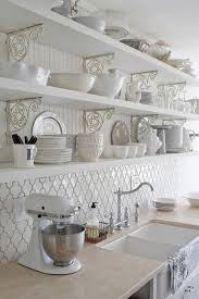 Farm Sink With Backsplash by Moroccan Tile Backsplash Ideas White Kitchen Open Shelves With