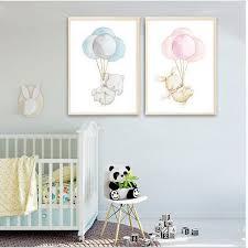 poster chambre bebe nordique poster éléphant lapin ballon toile imprimer mur