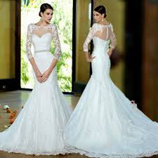 fishtail wedding dress casamento 2017 new three quarter sleeve lace fishtail wedding dress