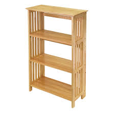 amazon com winsome wood foldable 4 tier shelf natural kitchen
