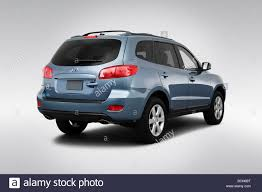 hyundai santa fe 2009 2009 hyundai santa fe se in blue rear angle view stock photo