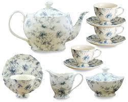 coastline imports 11 piece porcelain blue toile tea set u0026 reviews
